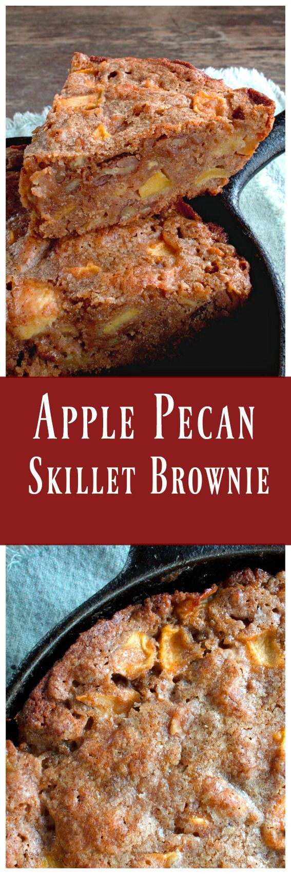 Apple Pecan Skillet Brownie - The soft apples and pecans mingled with warm spices  is everything we love about Fall baking. via @https://www.pinterest.com/BunnysWarmOven/bunnys-warm-oven/