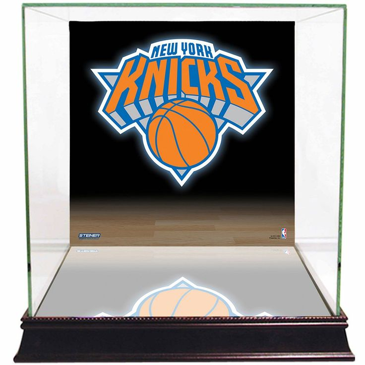 Steiner Sports Glass Basketball Display Case with New York Knicks Logo Background, Multicolor