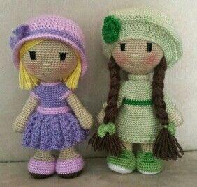 Muñecas de crochet de 22 cm
