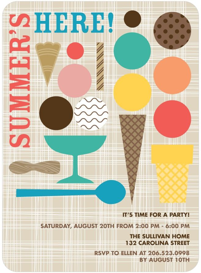 Cute graphic summer party invitation | geometric ice cream elements | design inspiration