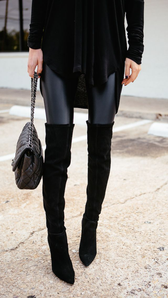 Latest fashion trends: Edgy look | Leather leggings, over the knee boots and black quilted handbag