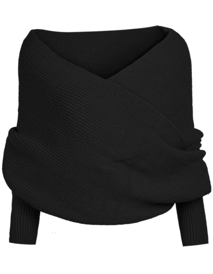 pull-over court en tricot épaule dénudée -Noir  19.62