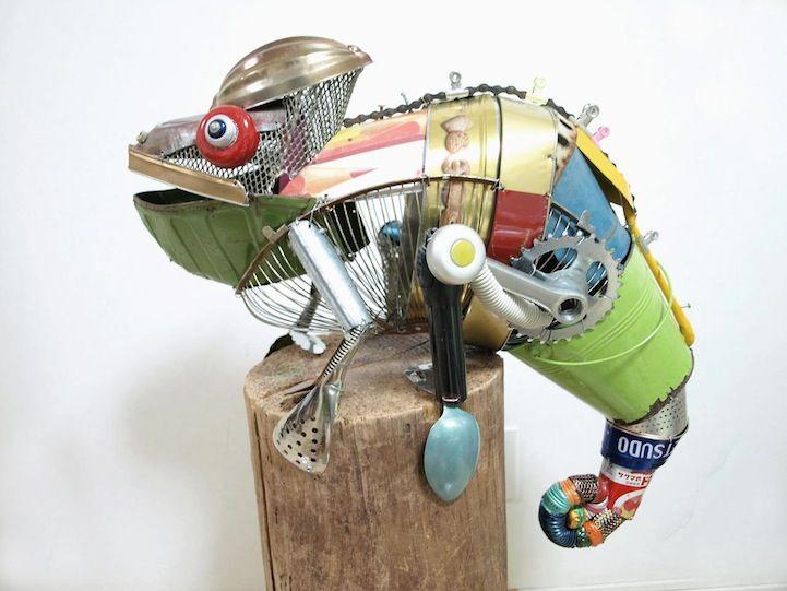 Playful Animal Sculptures Made of Salvaged Materials - My Modern Metropolis   by Japanese artist Natsumi Tomita