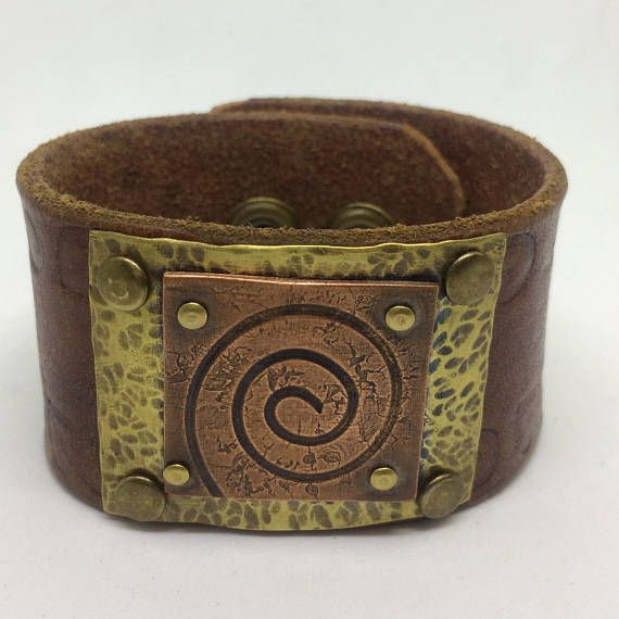 Brown Leather Cuff Bracelet for women with a Copper swirl.