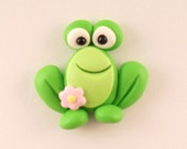Polymer Clay Bead or Bow Center - Spring Frog