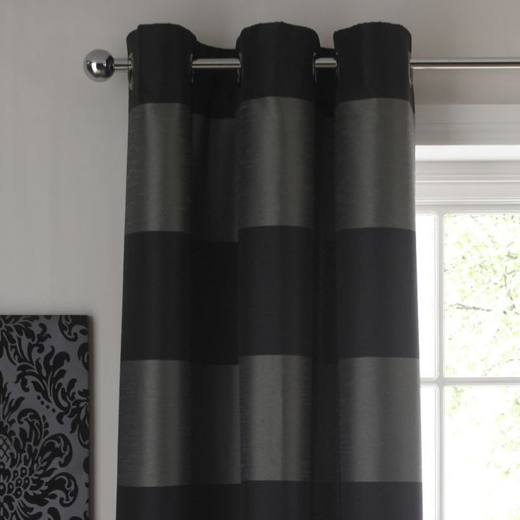 39 room colours by b amelie cross stripe eyelet curtains black silver