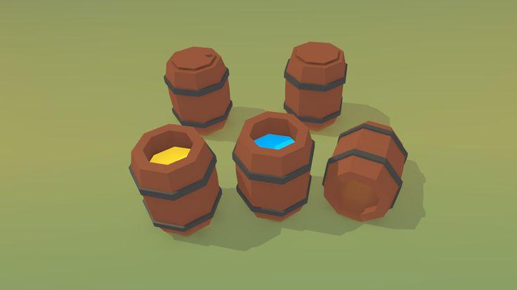 Lowpoly wooden barrels