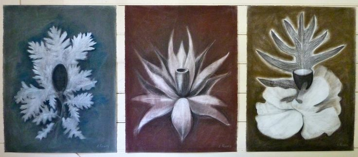 The Gift trio - charcoal, crayon on Stonehenge paper