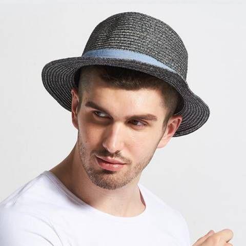 Gray straw panama hat for men UV summer sun hats travel beach wear