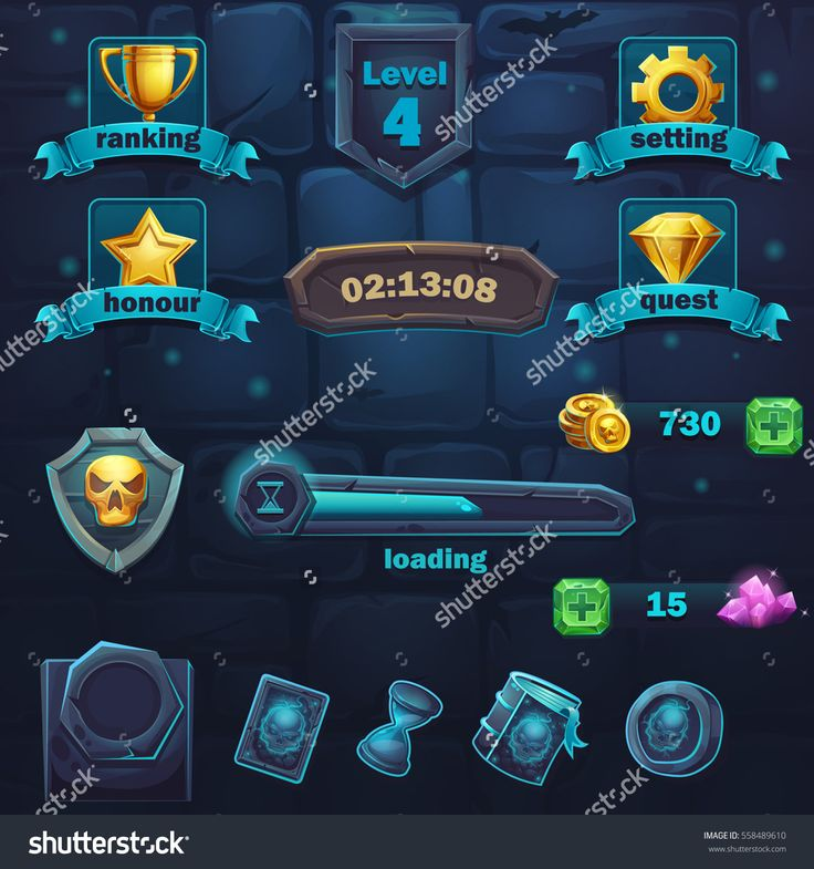 Set of different items for game user interface. Vector background illustration screen to the computer game Monster battle GUI to create original video or web games, graphic design, screen savers.