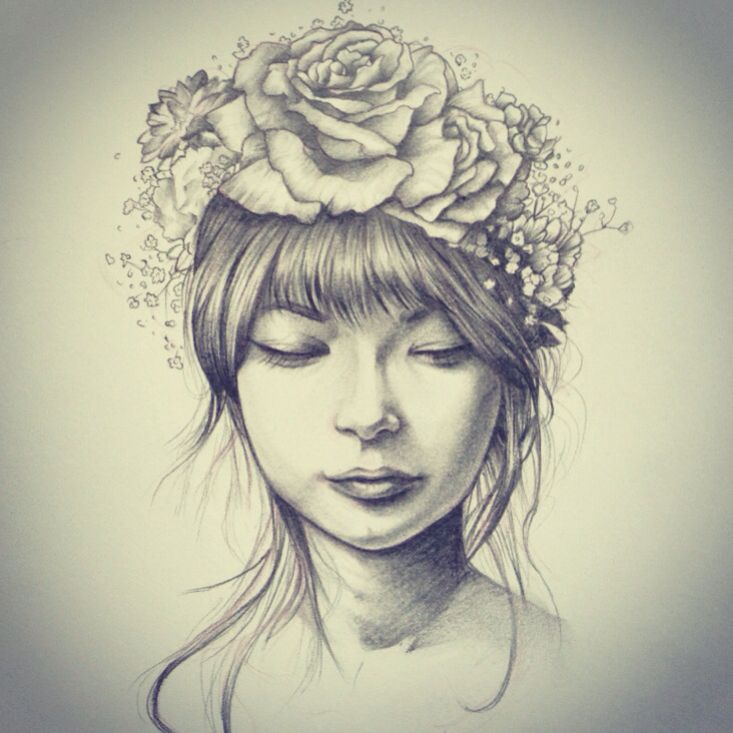 Girl with flower crown drawing - photo#30