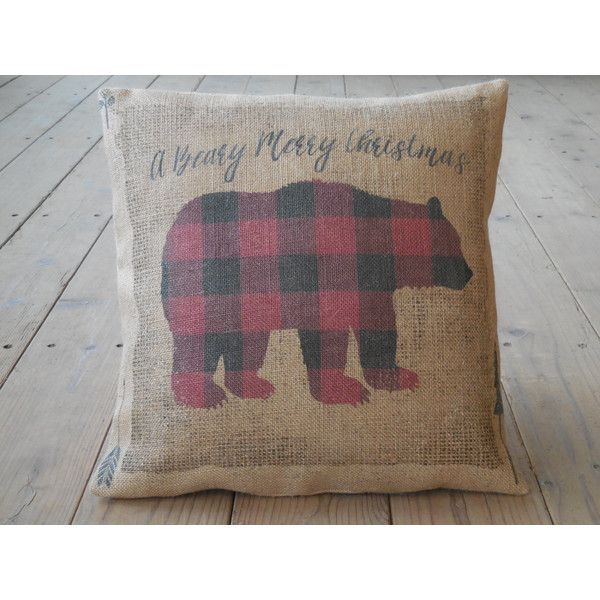 Christmas Bear Burlap Pillow a Beary Merry Christmas Christmas... (38 CAD) ❤ liked on Polyvore featuring home, home decor, decorative pillows, grey, home & living, home décor, burlap home decor, apple home decor, bear home decor and gray home decor