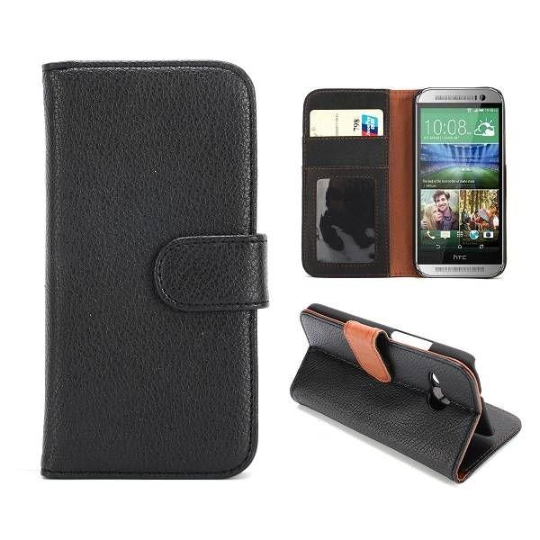Lychee zwart bookcase hoesje voor HTC One Mini 2
