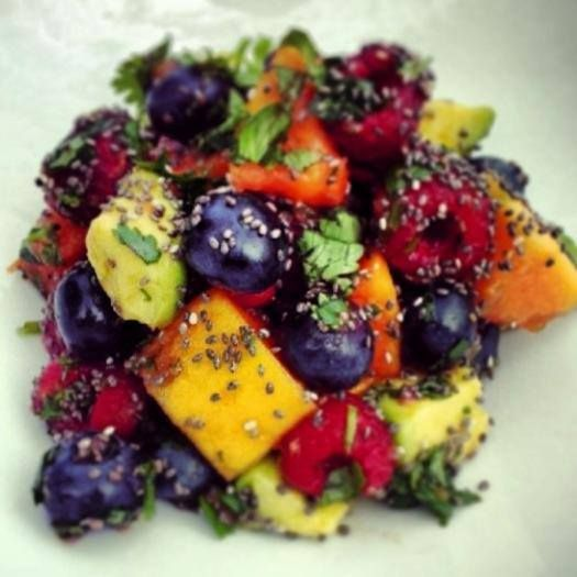 Lola Berry - Epic fruit salad for brekkie: special ingredients like avo (yes, avocado), lime, chia seeds and mint tossed through this colourful creation!
