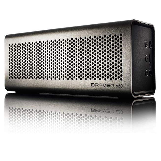 Braven 650 Portable Wireless Speaker/Charger/Speakerphone. Silver aluminum finish. 2000mA battery, 20 hour play time.