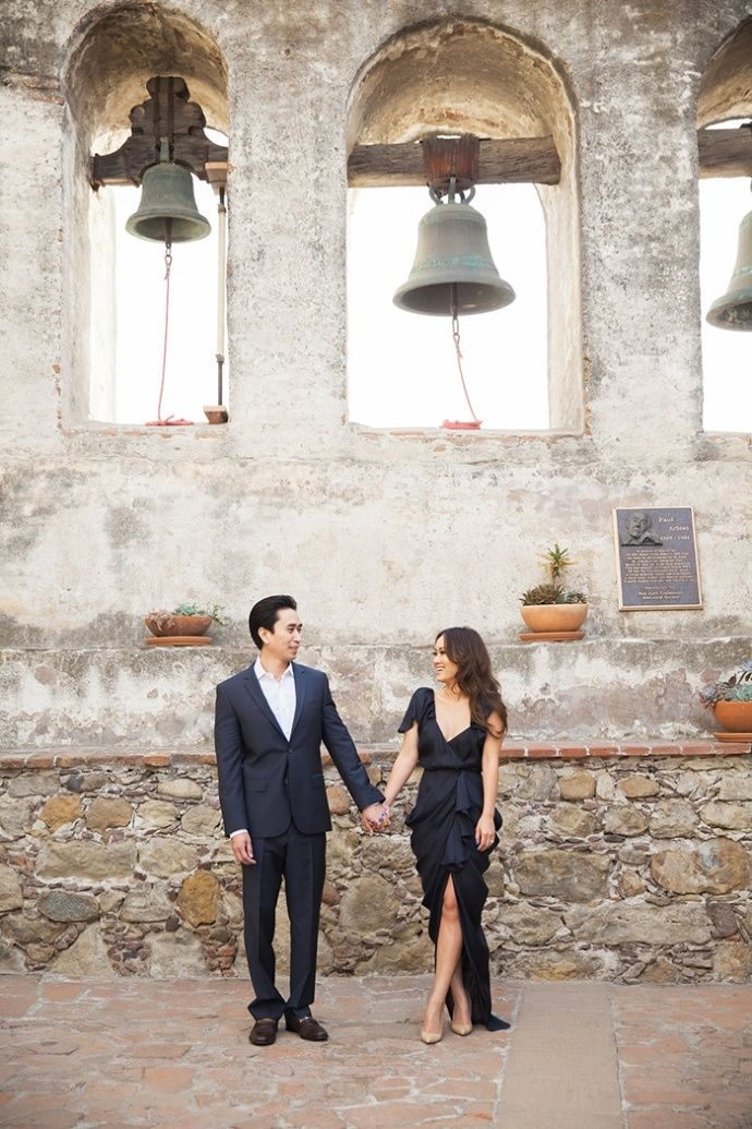 Chic black tie engagement photos