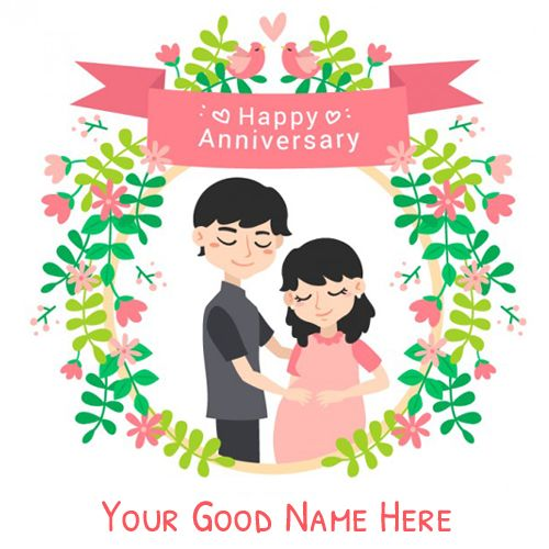 Happy Anniversary Couple Love Greeting Card With Name.Cute Couple Greeting For Wedding Anniversary With Custom Text.Print Name on Marriage Anniversary Wish Card