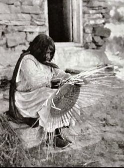 Zuni Indian Woman Making a Basket, Zuni Indian Reservation in New Mexico