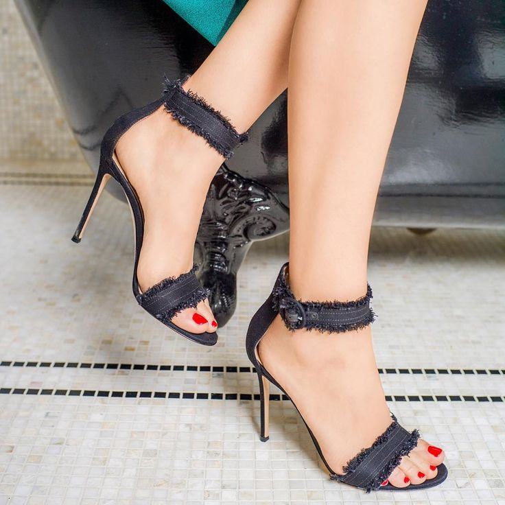 """""""The shoes are the final touch: the Lola sandals in frayed black denim from the Spring/Summer '16 collection"""""""