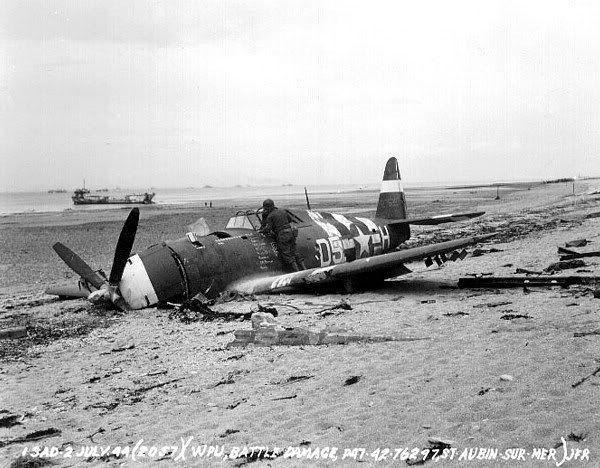 Republic P-47D-15-RE #42-76297 du 365th FG, abattu le 10 juin 1944 à Saint-Aubin sur mer