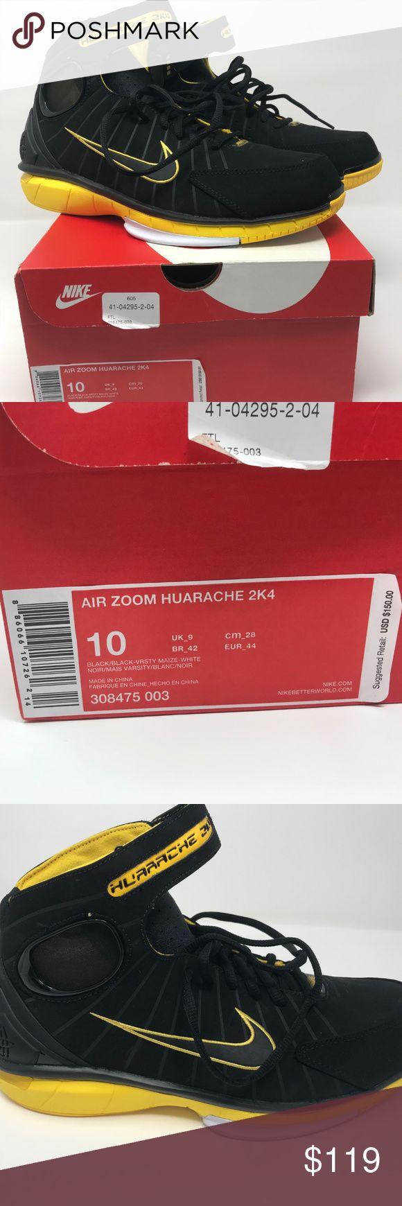 """New Men's Nike Air Zoom huarache 2K4 Shoes Size 10 New, NIB Nike Air Zoom Huarache 2K4 """"Kobe Bryant""""  Color: Black / Black - Varsity Maize - White  Product #: 308475 003  Size 10 Nike Shoes"""