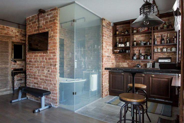 Ipari stílus 36m2-en, retro elemekkel, üvegfalú fürdőszobával - egy fiatal férfi kis lakása