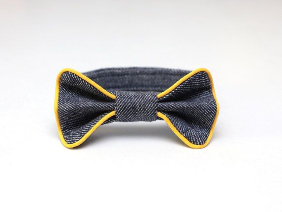 Boys bow tie Blue bow Linen denim look bow tie with by ZanziBach