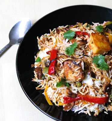 Paneer Biryani is rice flavored and layered with spices and cottage cheese/paneer