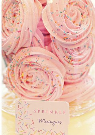rose sprinkle meringues - Read more on One Fab Day: http://onefabday.com/meringue-wedding/