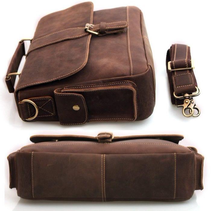 Vintage Handmade Genuine Crazy Horse Leather Briefcase Laptop Messenger Bag in Old Dark Brown
