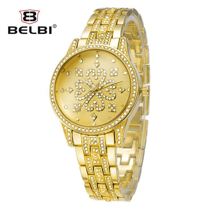 Belbi Luxury Women Watches Diamond Analog Display Full Stainless Steel Quartz Watch Women Waterproof Lady Watch horloges vrouwen
