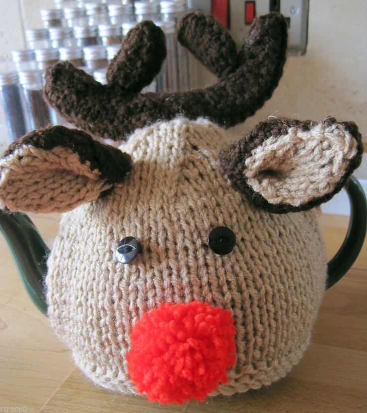 HAND KNITTED RUDOLF XMAS TEA COSY WITH SUPER ANTLERS.