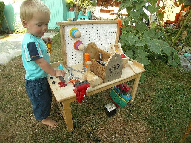 DIY toddler workbench.