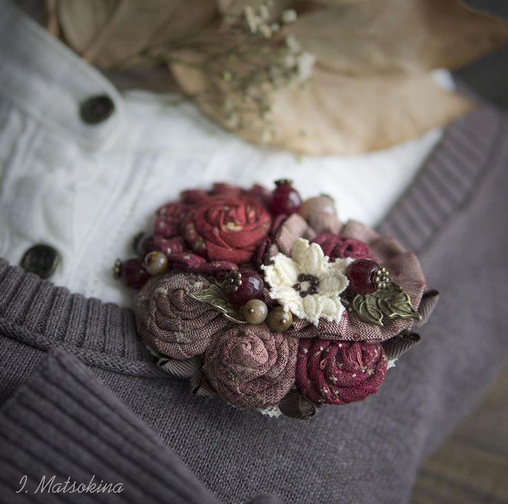 Купить Брошь Пламенный Цветок - бордовый, пламя, огненный, брошь, брошь ручной работы