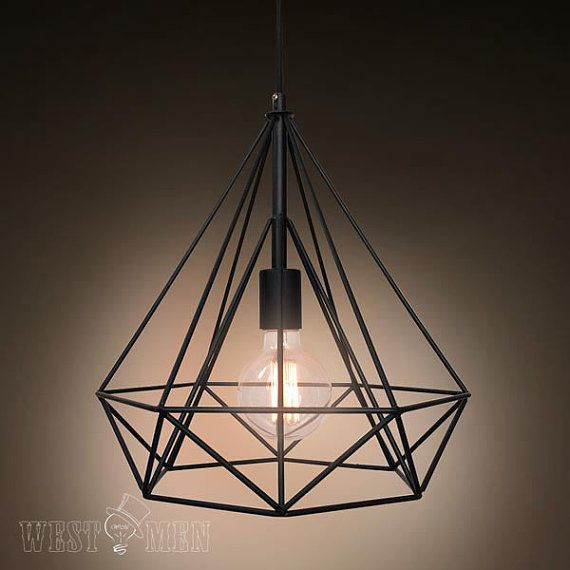 Metal wire diamond pendant lamp diy industrial vintage iron cage hanging light with ceiling base - Diy industrial chandelier ...