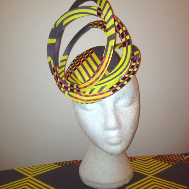 Stretchy swirly design on a covered pillbox - Emily o'regan millinery
