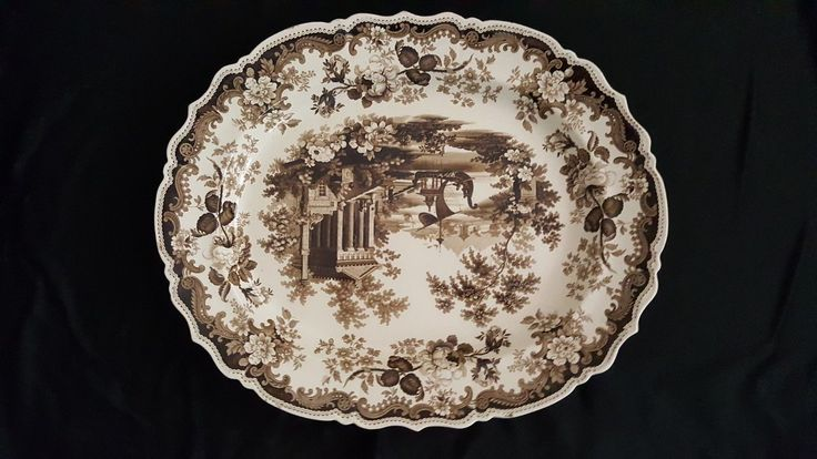 "antique English Rodgers ""Athens"" pattern two large platters circa 1840 
