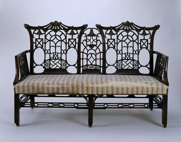 Settee Place of origin: Great Britain, United Kingdom (made) Date: ca. 1760-1770 (made) Artist/Maker: Unknown (production) Materials and Techniques: Mahogany carved in the solid with pierced and blind fretwork