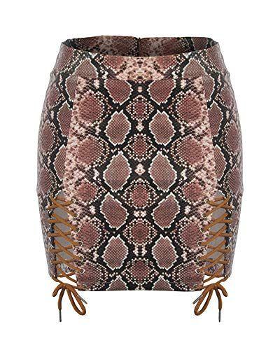 d22e016078 Falda de Cuero PU para Mujer Bodycon Mini Faldas café XL