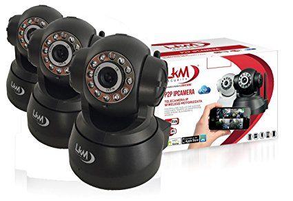 Pack 3X Telecamera LKM® IP Camera Videosorveglianza Wireless Wifi Motorizzata Pan Tilt Interno colore Nero Connettore I/O P2P QRCode