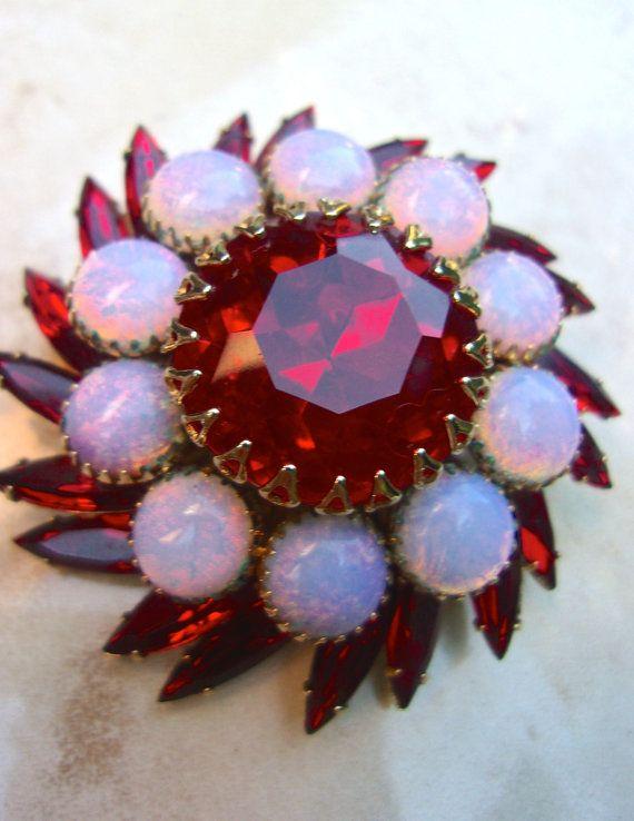 Glass Fire Opal JUDY LEE Brooch Red Rhinestones by RenaissanceFair