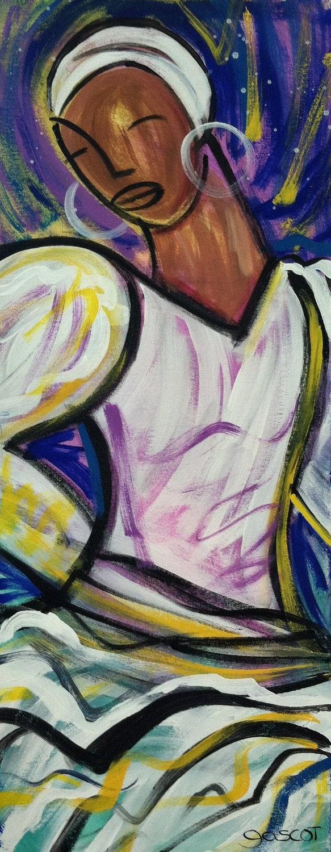 Bomba Dancer - original 12x30 Latin Pop painting. $200.00, via Etsy.   Puerto Rico, Hispanic Heritage Month, art & gifts. Free exhibit http://prlog.org/11938982 'til Oct 10th #DC #VA #MD