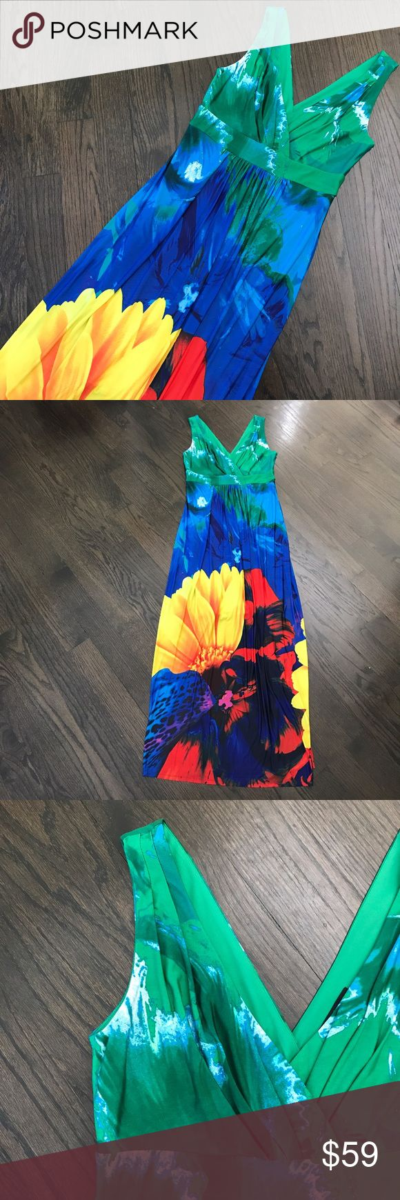 Ronni Nicole Colorful Sleeveless Maxi Dress So pretty! Ronni Nicole maxi dress. Vibrant colors including blue, green, red, and yellow. Perfect for vacation! Please note: this has an attached nude thick slip from below the bust that goes down to the knees(it's like a built in Spanx). Size Small. Brand new without tags...in perfect condition! Ronni Nicole Dresses Maxi