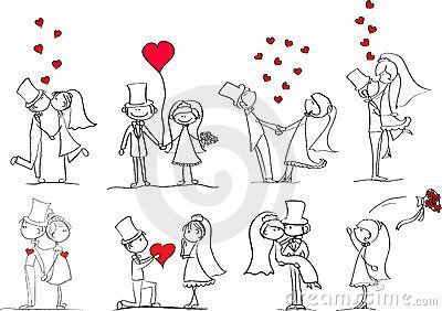 Set of wedding pictures, vector