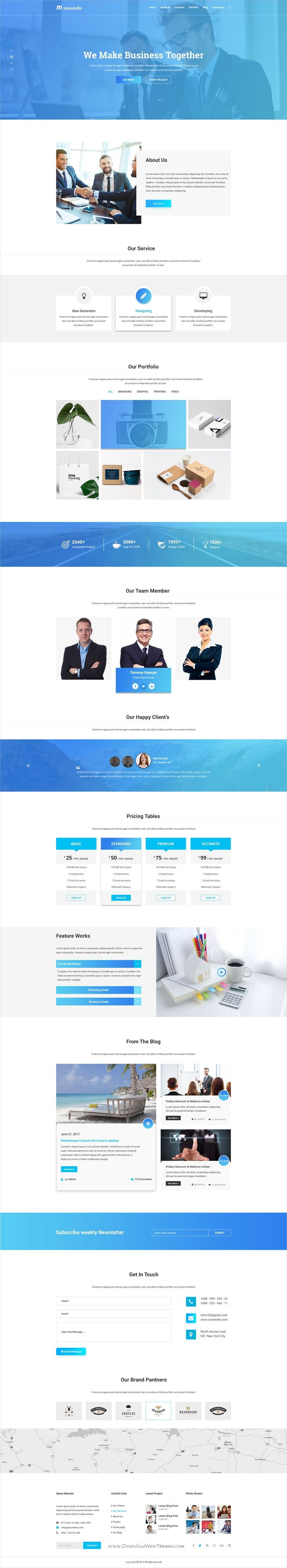 Maxcdn is clean and modern design #PSD template for onepage creative #business agencies website download now..