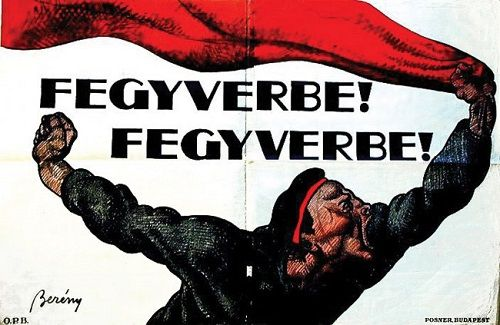 Róbert Berény: To arms! To arms! Fantastic Hungarian Republican poster from 1919. Love how the flag streams across both pages at the top.