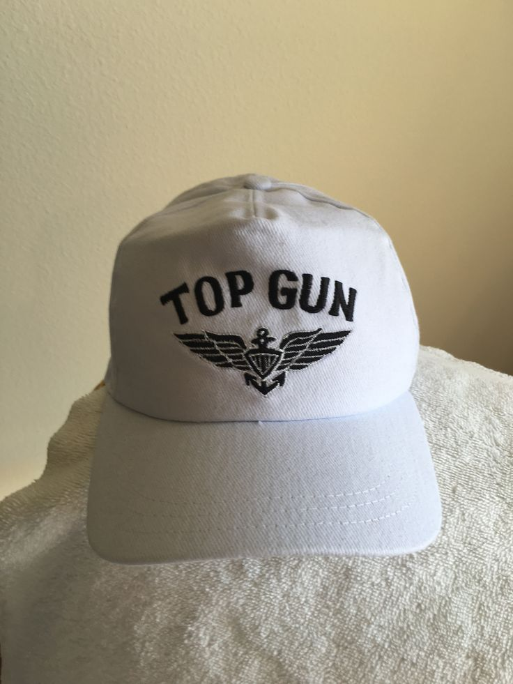 Top+Gun+new+white+ball+cap:+Top+Gun+on+a+new+white+ball+cap...also+has+a+rear+adjustable+strap.++Only+white+cap+left,+have+one+black+cap