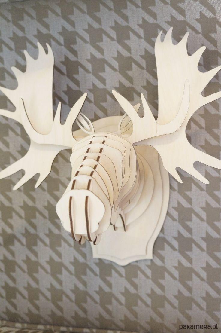 dodatki - dekoracje - inne-Głowa ŁOSIA, łoś, puzzle 3d, trofeum, poroże