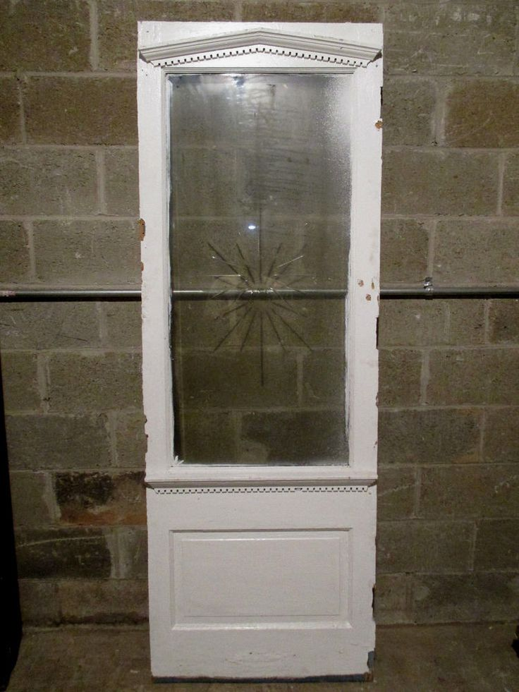 Antique Pantry Door With Beveled Etched Glass 27x78
