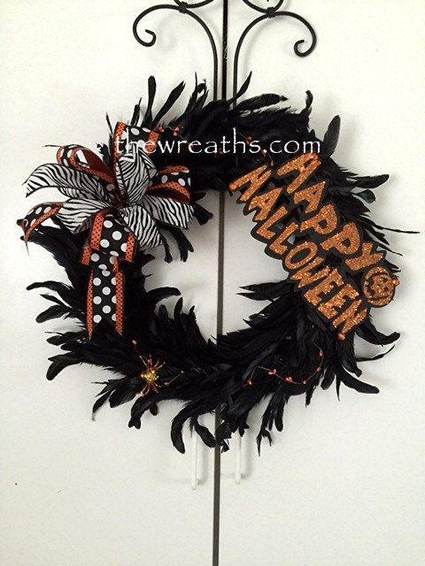 Halloween Wreath, Black Halloween Wreath, Halloween